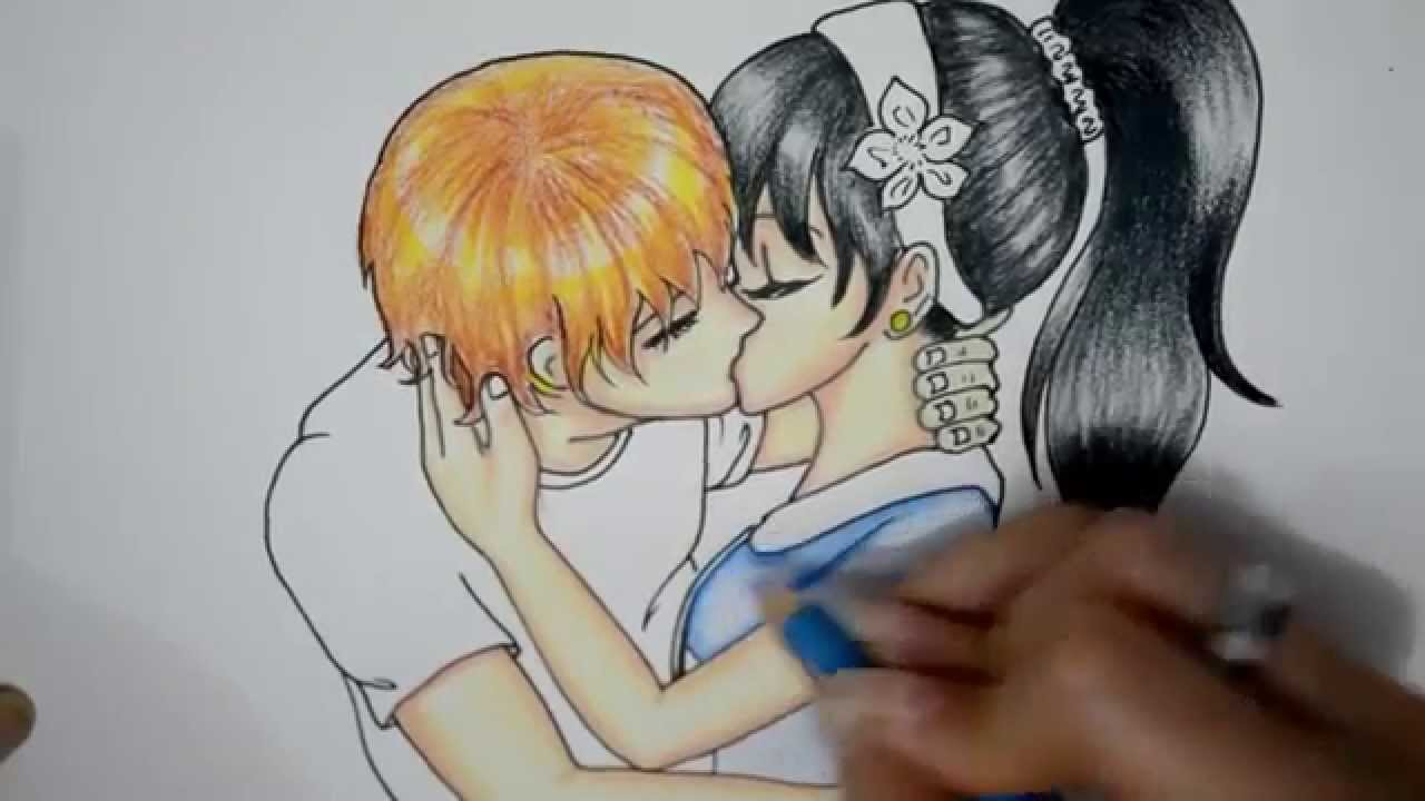 How to draw a anime couple love kissing so cute and romantic