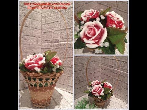 Красно-белые розы в корзинке/Мыловарение