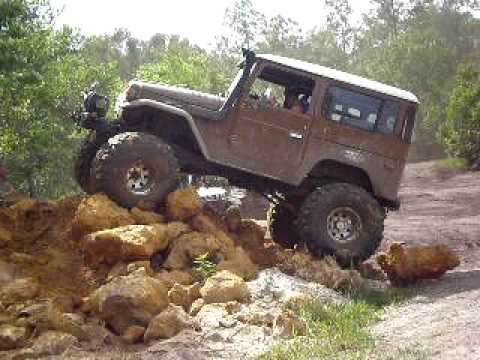 Ford Bronco Tires >> 1977 toyota fj40 rockcrawling , 40 inch tires almost flips , red neck yacht club - YouTube