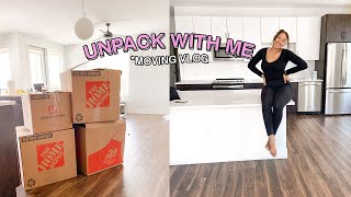 MOVE IN VLOG: Move in with me + Organizing + Unpacking + decorating my first apartment| moving vlog