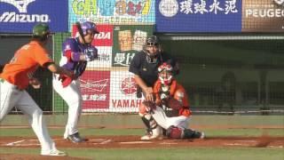 05/18 義大 vs 統一 一局上,鄭達鴻三游防線穿越安打,攻下義大第四分