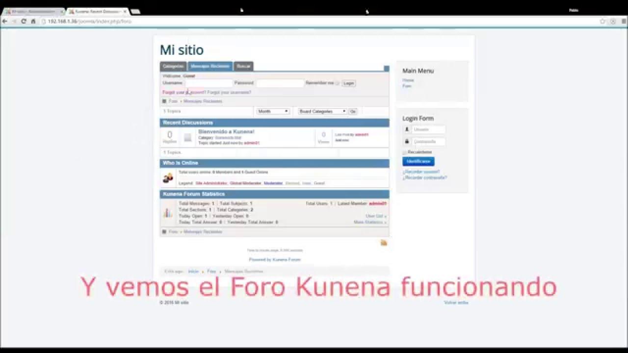 Instalacion de Kunena 4 en Joomla 3.4.X - YouTube