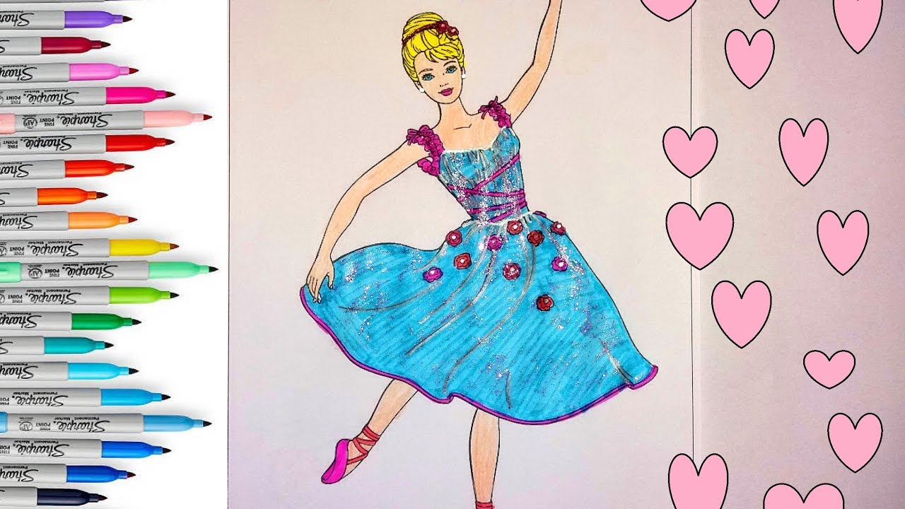BARBIE Girl Coloring Book | Barbie Dance Coloring Pages For Kids ...