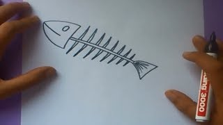 Como dibujar una raspa de pescado paso a paso | How to draw one fishbone