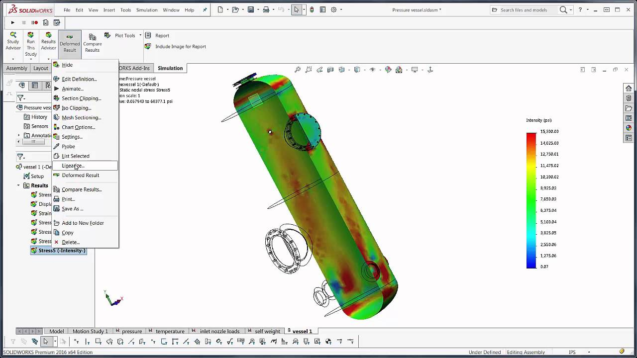 SOLIDWORKS Simulation - Stress Linearization for Pressure Vessel Studies