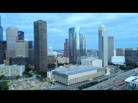 Houston Texas Downtown Drone Flight captures beautiful sunset over the skyline.