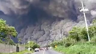 Blast of Volcano near to the city