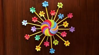 Easy Diy Home Decor Idea   Wall Decoration With Paper Flowers   Paper Crafts Flowers