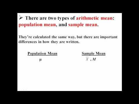 Arithmetic Mean for Samples and Populations