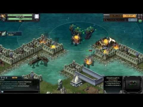 Leveling A Farm In Battle Pirates Using A Dreadnought X Fleet!