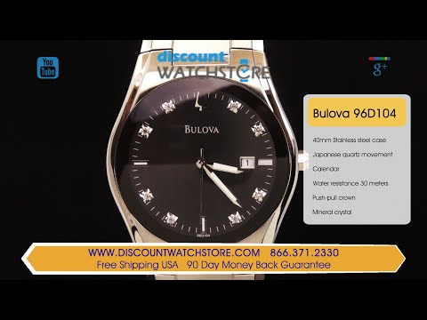 Bulova 96D104 Men's Diamond Black Dial Date Watch Review Video