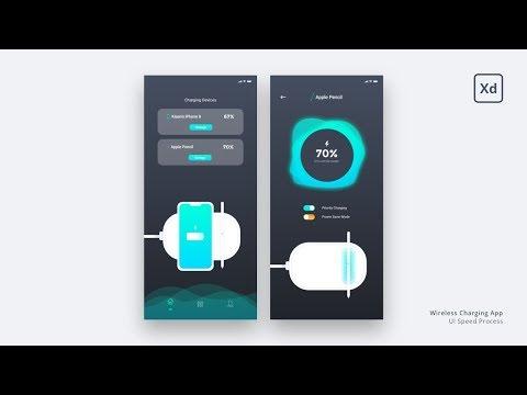 Mobile App UI Design (Speed Process) - Wireless Charging App | Adobe XD