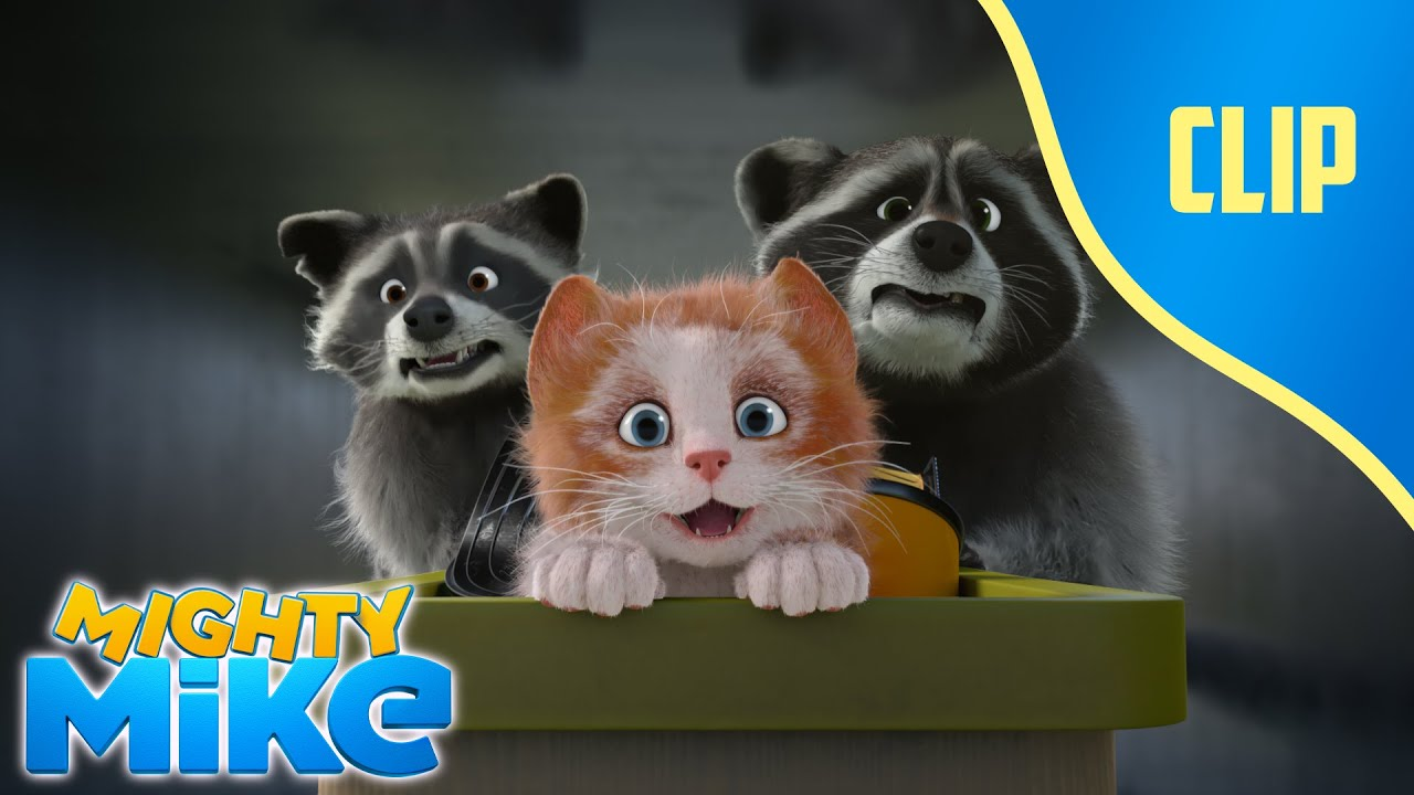 🙀Fluffy is trapped in the air vents with the raccoon ! 🐶Mighty Mike - Cartoon Animation for Kids
