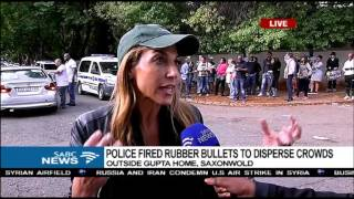 Police fired rubber bullets to disperse protesters outside Gupta's residence