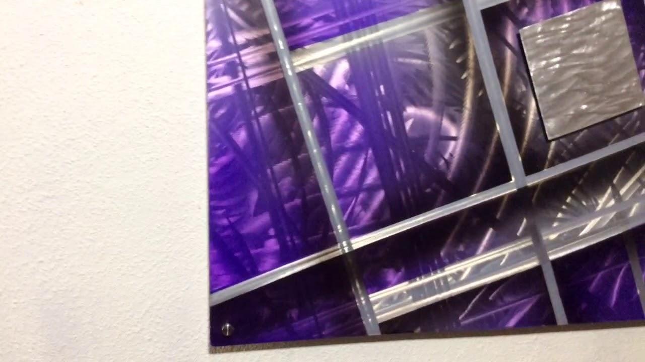 Purple Silver Aluminium Metal Wall Art Picture Modern Contemporary Home Decor