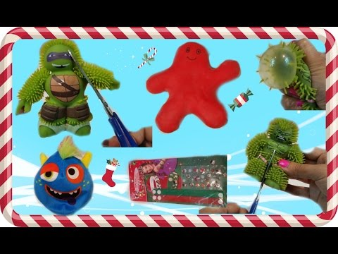 cutting-open-squishy-toys,-hulk,-donatello,-monster-ball,-and-splat-man.-diy-bracelets.