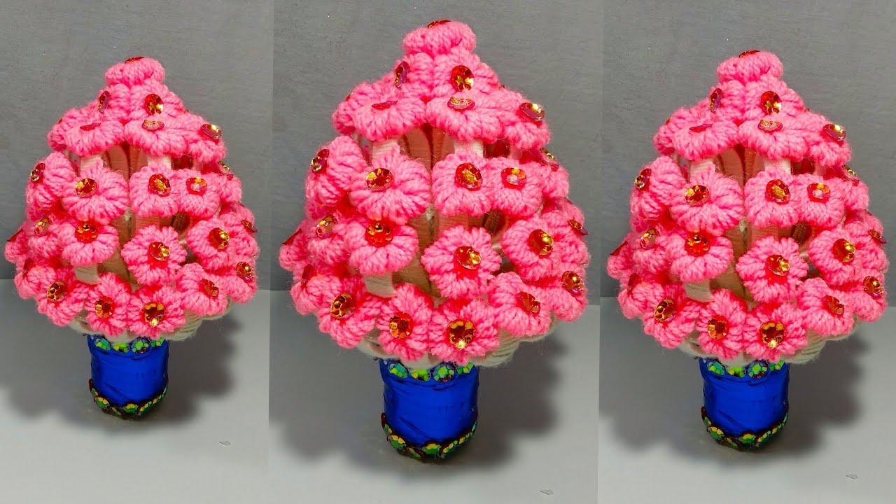 Guldasta Diy New Design Woolen Guldasta Waste Plastic Bottle