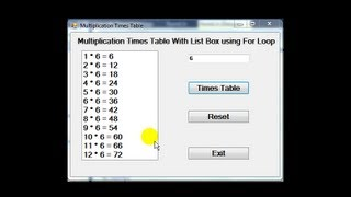 Visual C++ Multiplication Times Table Tutorial using ListBox