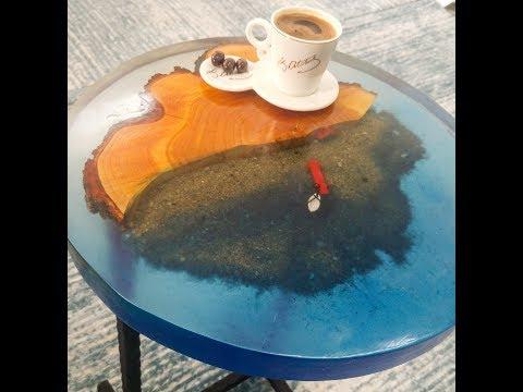 Wood Epoxy Resin Coffee Table 'Sea' - Ahşap Epoksi Sehpa 'Deniz'