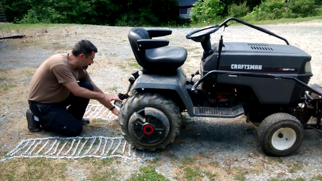 How To Install Tire Chains On Your Riding Mower Youtube