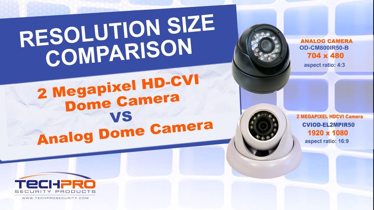 Resolution Size parison 2MP HD CVI Dome camera VS Analog dome camera
