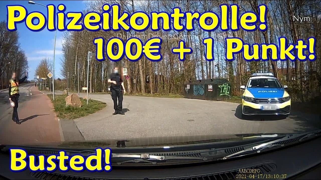 Polizeikontrolle, bei Rot über Bahnübergang und Diskussion mit Radfahrer   DDG Dashcam Germany  #233