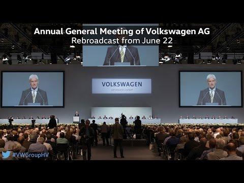 Annual General Meeting of Volkswagen AG 2016 #VWGroupHV Rebroadcast from June 22th, 2016