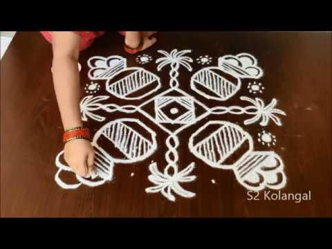 easy pongal pot rangoli designs - easy bhogi kundalu designs - sankranthi rangoli- pongal kolam