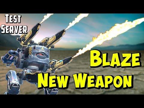 New Light Flamethrower Weapon BLAZE Gameplay - War Robots Test Server WR