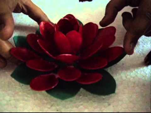 Plastic spoon floating lotus flower youtube for Best out of waste ideas from plastic spoons
