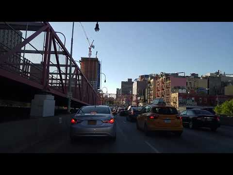 Driving from Williamsburg Bridge to Holland Tunnel in Manhattan,New York