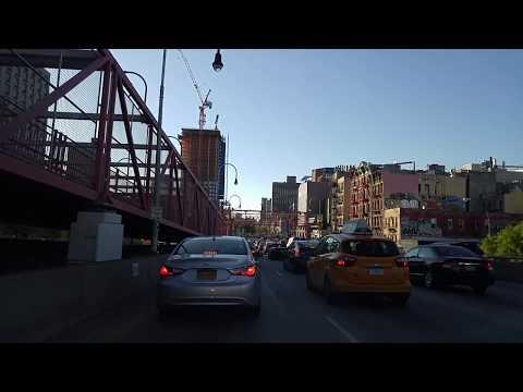 Driving from Williamsburg Bridge to Holland Tunnel in Manhattan,New York
