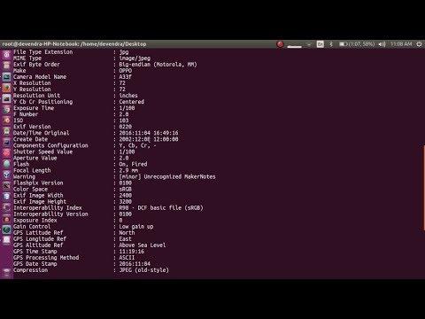 metadata extraction using ExifTool on ubuntu 17 04 - YouTube