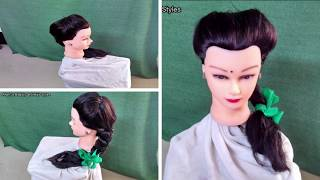 Front Puff Single Braid With Satin Ribbon Green Color 02