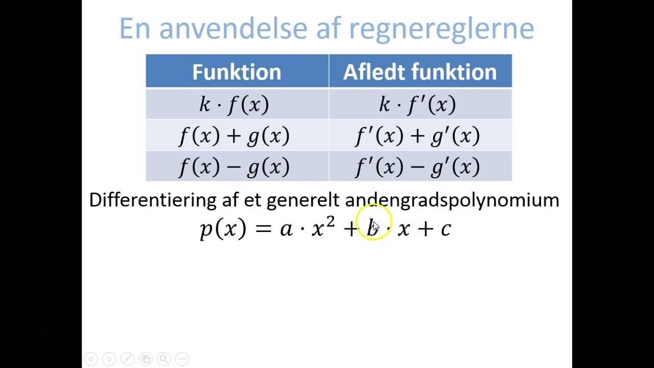 Regneregler - Anvendelse: p(x) = ax^2+bx+c