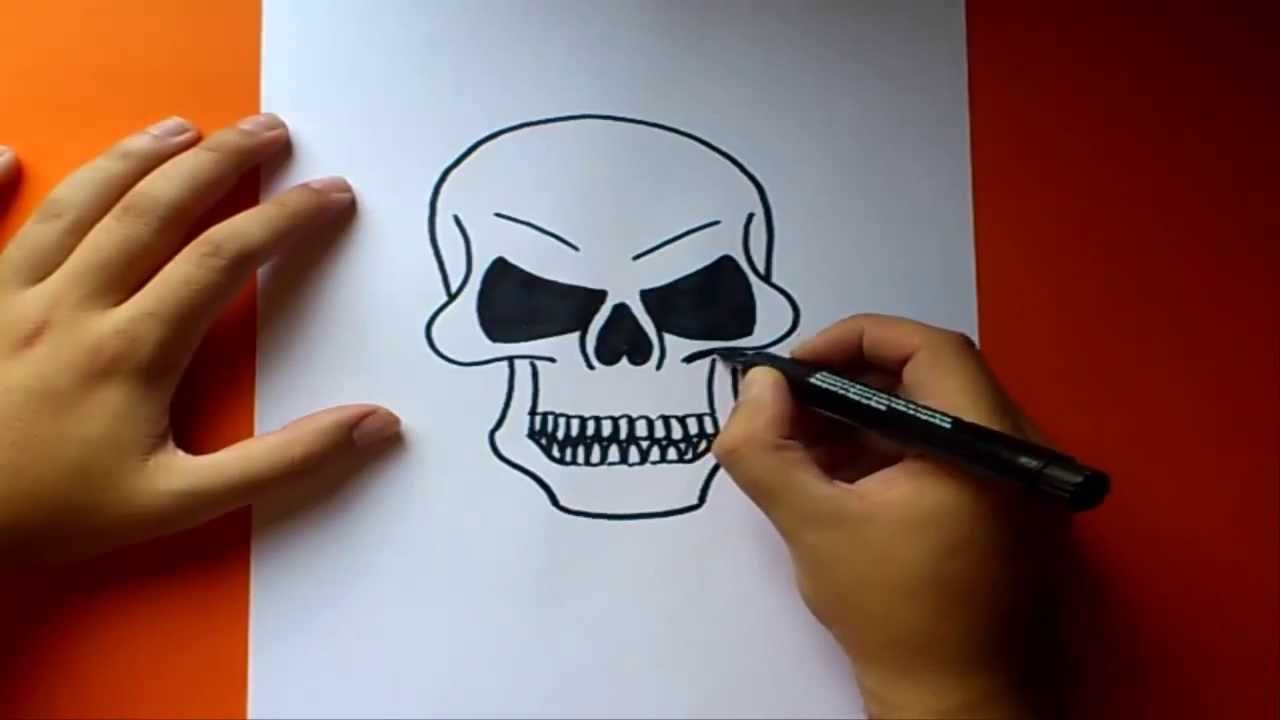 Como dibujar una calavera paso a paso  How to draw a skull  YouTube