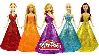 Куклы Принцессы Диснея Лепим СУПЕР ЯРКИЕ ПЛАТЬЯ из Плей До Поделки из пластилина Play Doh