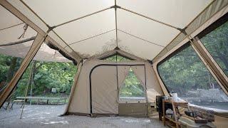 캠핑 브이로그 . 새 텐트 기가 막히네요! 역대급 개방…