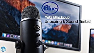 Blue Yeti Blackout Edition USB Microphone Unboxing + Sound Tests!