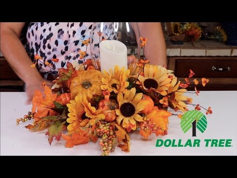 How To Make A Fall Centerpiece With Dollar Tree Items 2019  ( On A Budget )