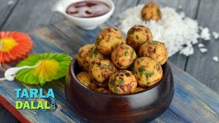 Crispy Rice Balls, using leftover rice and vegetables by Tarla Dalal