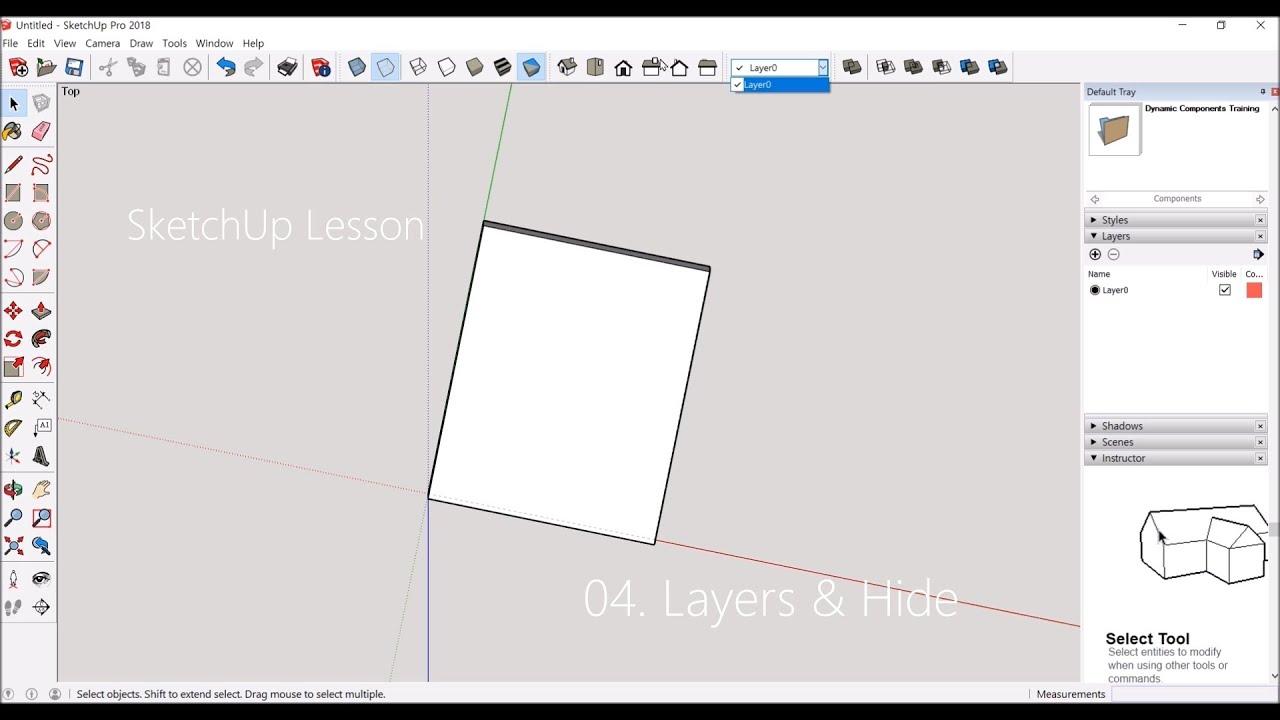 가구디자인(목공)을 위한 스케치업(SketchUp) 왕초보 기초 무료강좌 - 04. Layers 와 Hide 활용하기 - YouTube