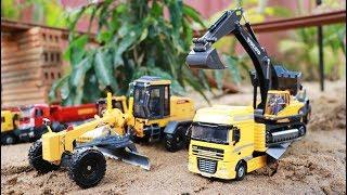 รถแม็คโคร รถตักดิน รถดั้ม รถเทลเลอร์ รถเกรด รถบดดิน ทำงานงานก่อสร้าง บรรทุกทราย ทำถนนบนสะพาน