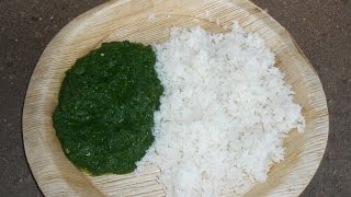Cooking Farm Fresh Green Spinach with Rice in My Village  - Keerai Kulambhu - Natural Healthy Food