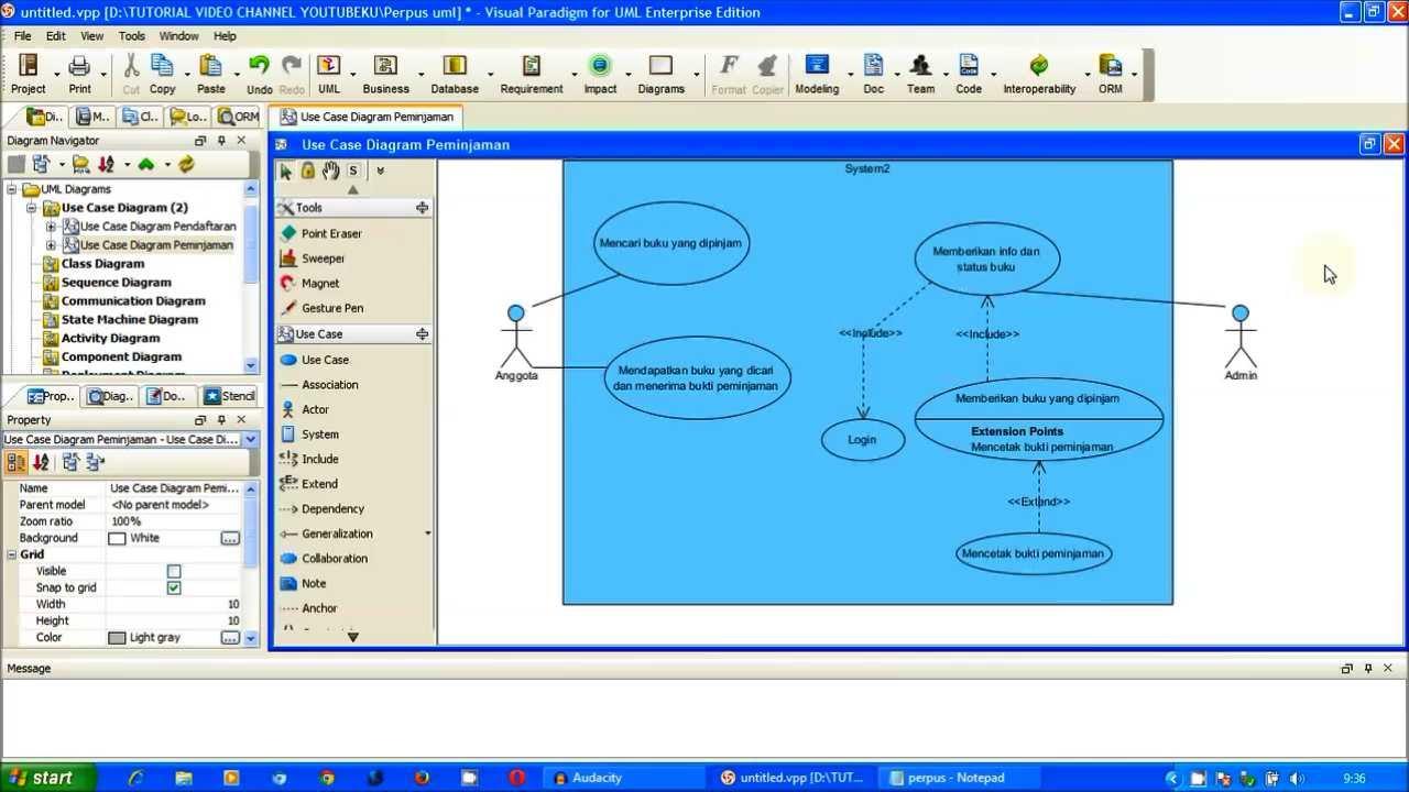 tutorial uml use case diagram peminjaman perpus part 2 visual paradigm - Visual Diagram Software