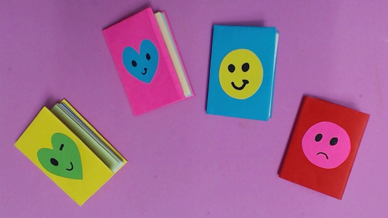 How to Make Mini Notebook with Color Paper | DIY Paper ...