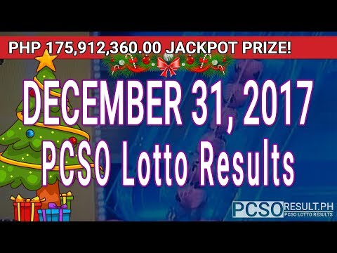 PCSO Lotto Results Today December 31, 2017 (6/58, 6/49, Swertres, STL & EZ2)
