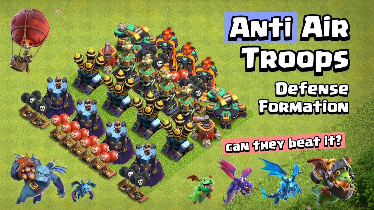 Anti Air Troops Defense Formation   Clash of Clans