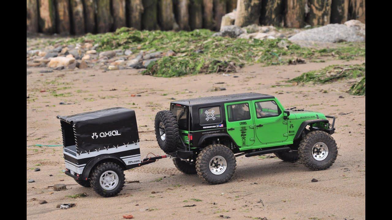 Jeep Wrangler Rubicon >> Remolque con lona Axial scx10 Jeep Wrangler Rubicon (trailer scale 1.9) - YouTube