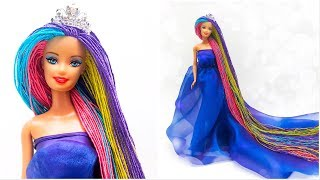 Long Hair Rainbow Barbie Rerooting /peinado/cabelos coloridos/باربي الشعر الطويل/рапунцель/raiponce